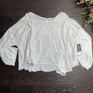 Free People White Embroidered Sheer Top